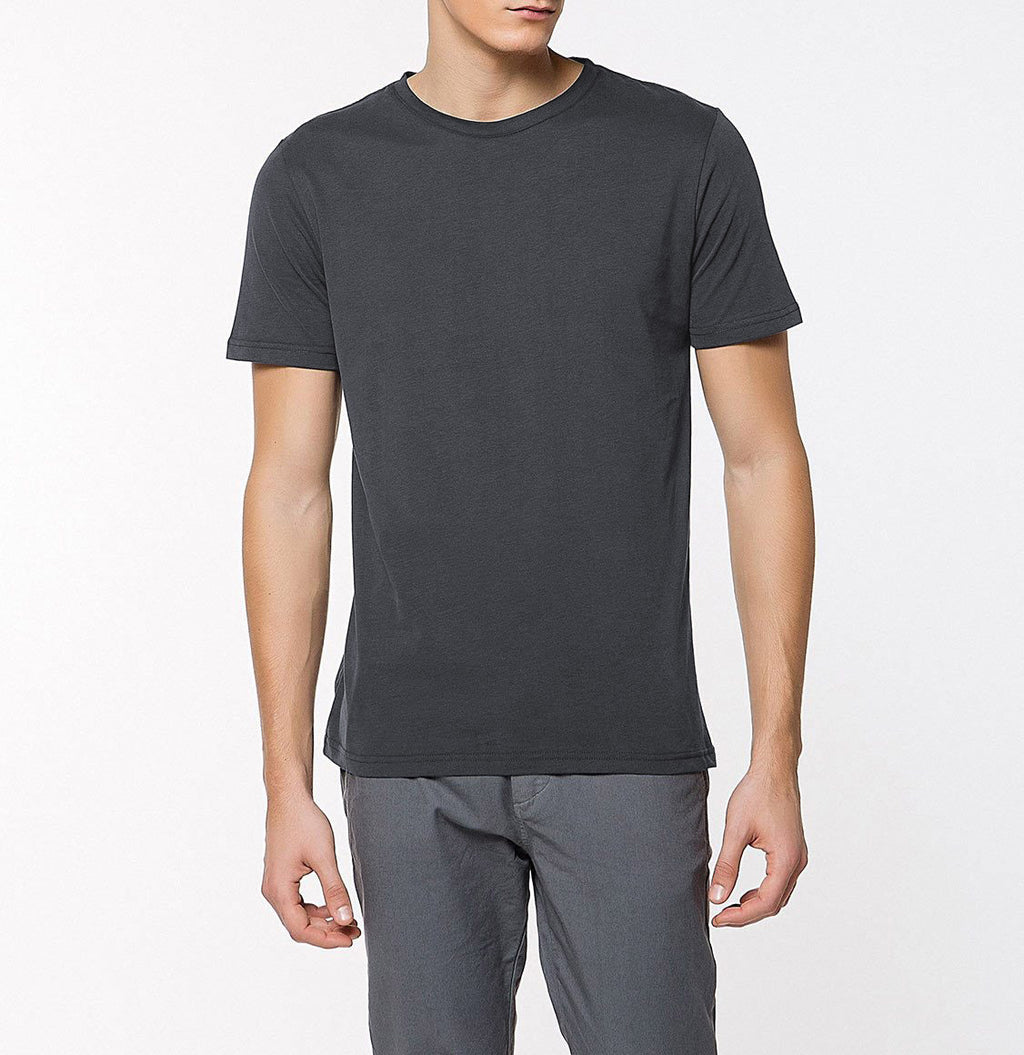 Crew Neck Supima Cotton T-shirt Asphalt | The Project Garments - Front