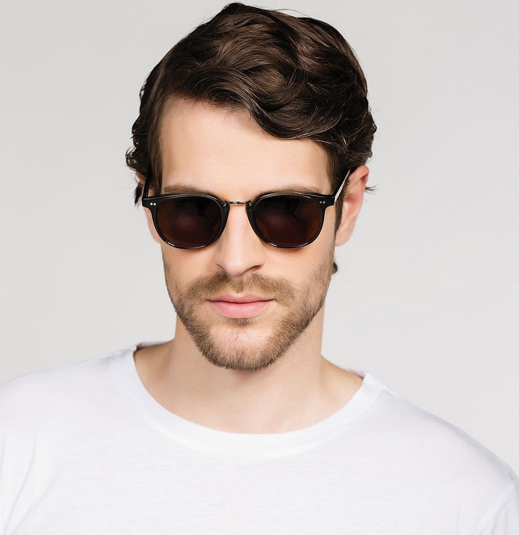 Cutler and Gross Round-Frame Aviator Blue Acetate Sunglasses Model