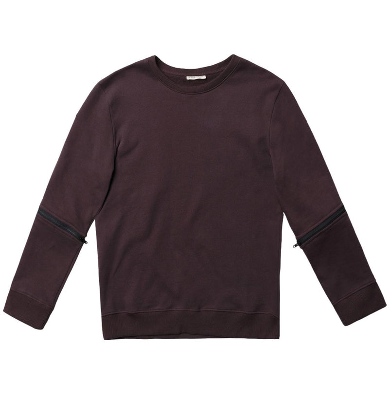 Detachable Sleeves Organic Cotton Crew Neck Sweatshirt Burgundy - A