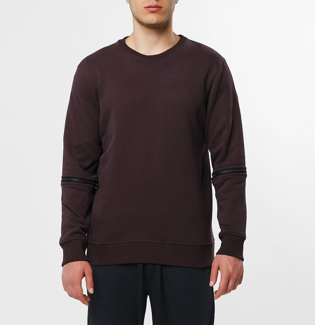 Detachable Sleeves Organic Cotton Crew Neck Sweatshirt Burgundy - B