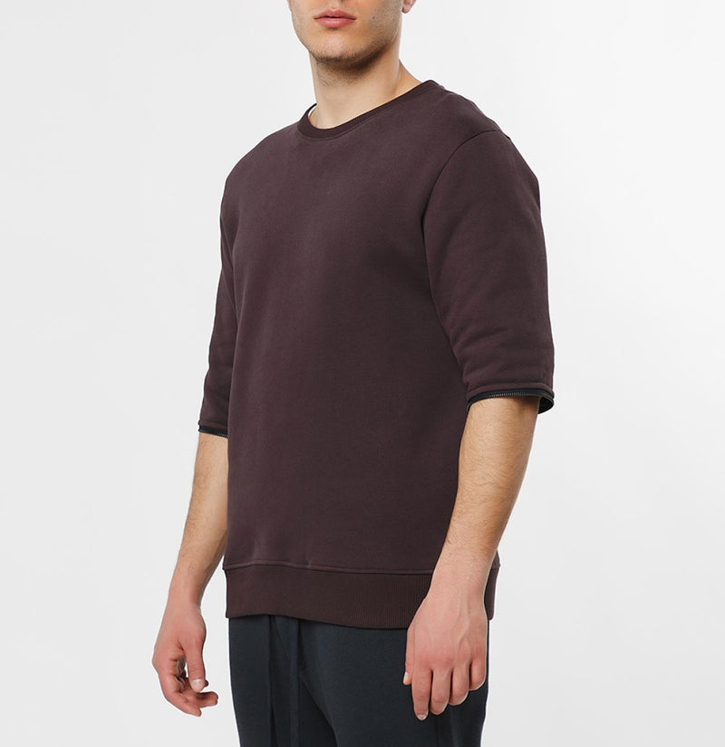 Detachable Sleeves Organic Cotton Crew Neck Sweatshirt Burgundy - C