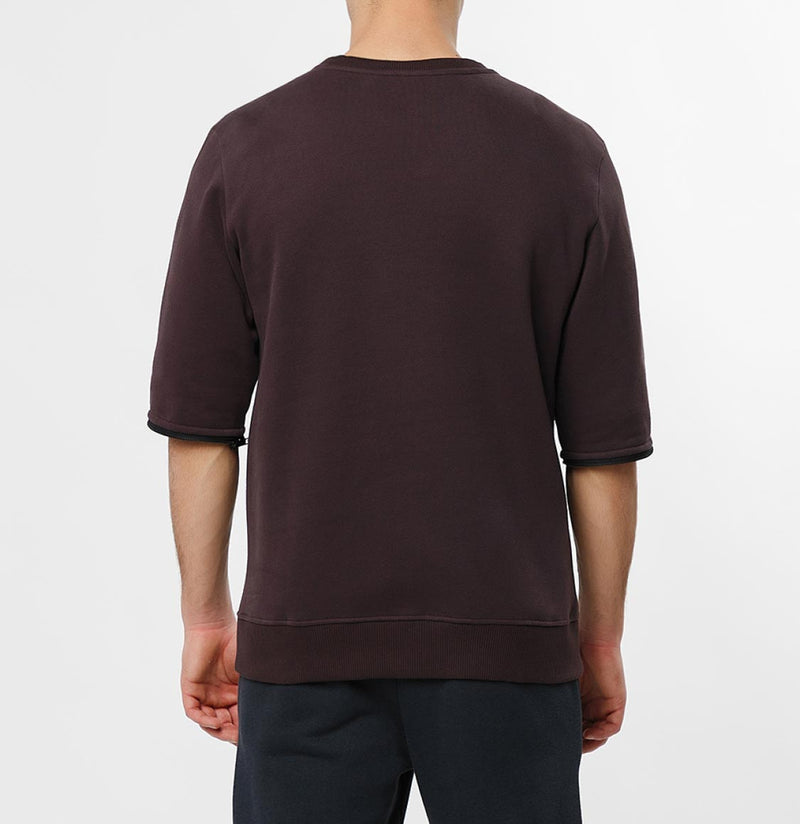 Detachable Sleeves Organic Cotton Crew Neck Sweatshirt Burgundy - D