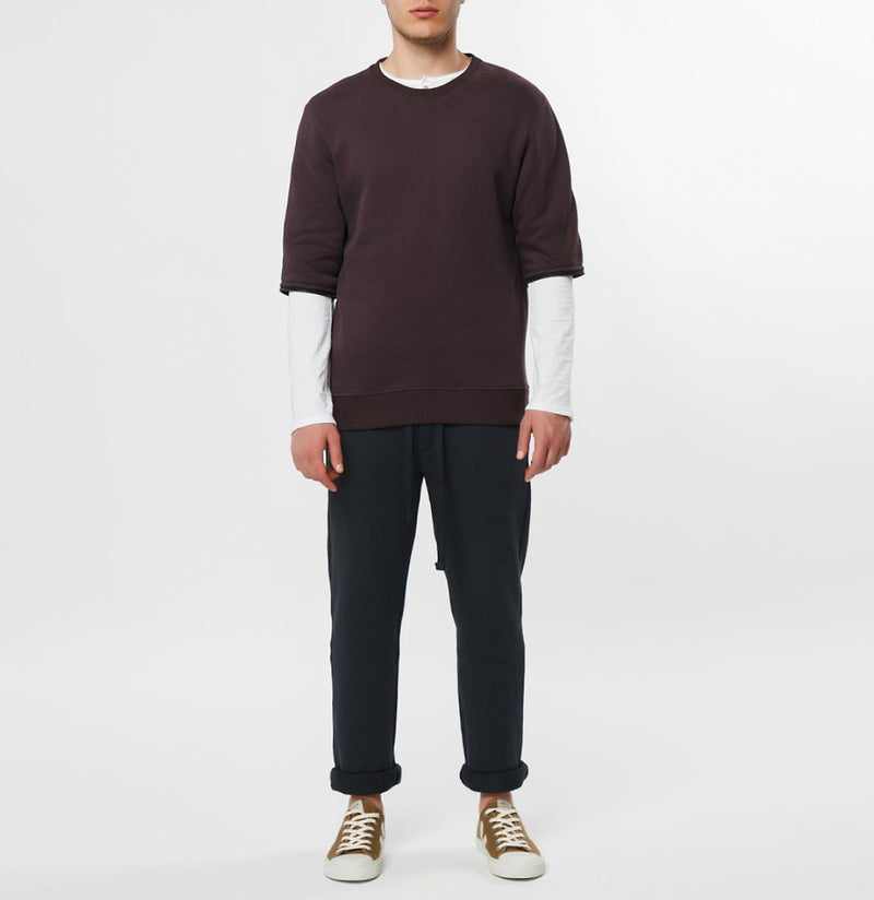 Detachable Sleeves Organic Cotton Crew Neck Sweatshirt Burgundy - E
