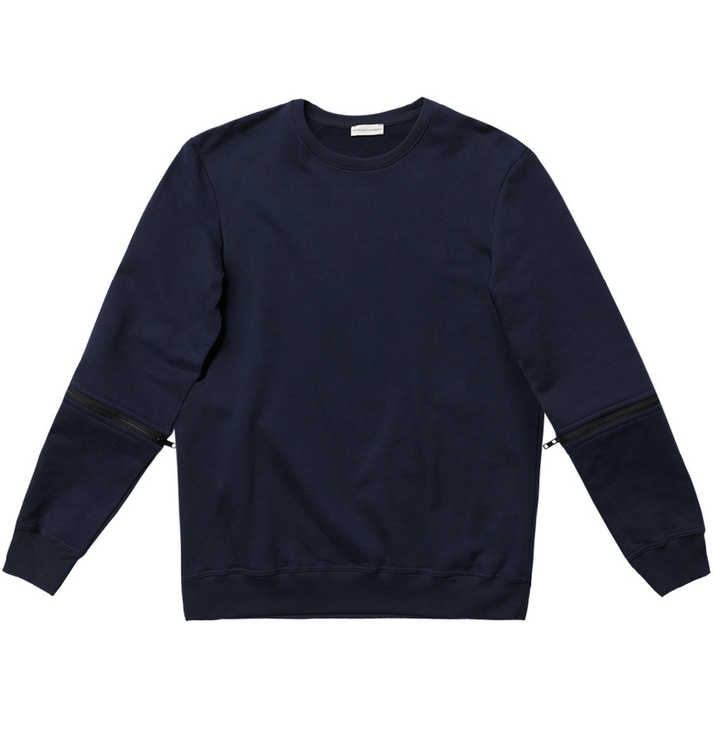 Detachable Sleeves Organic Cotton Crew Neck Sweatshirt Navy Blue - A