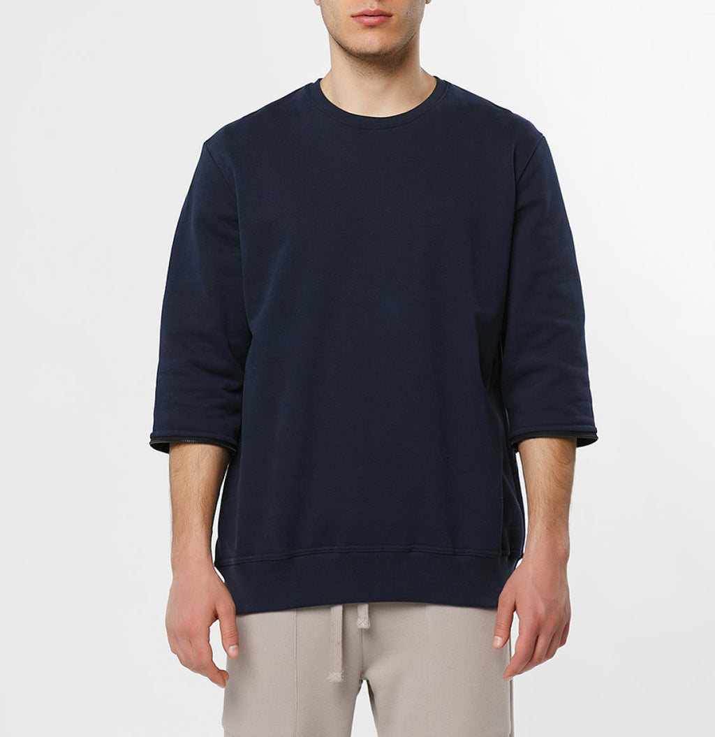 Detachable Sleeves Organic Cotton Crew Neck Sweatshirt Navy Blue - B