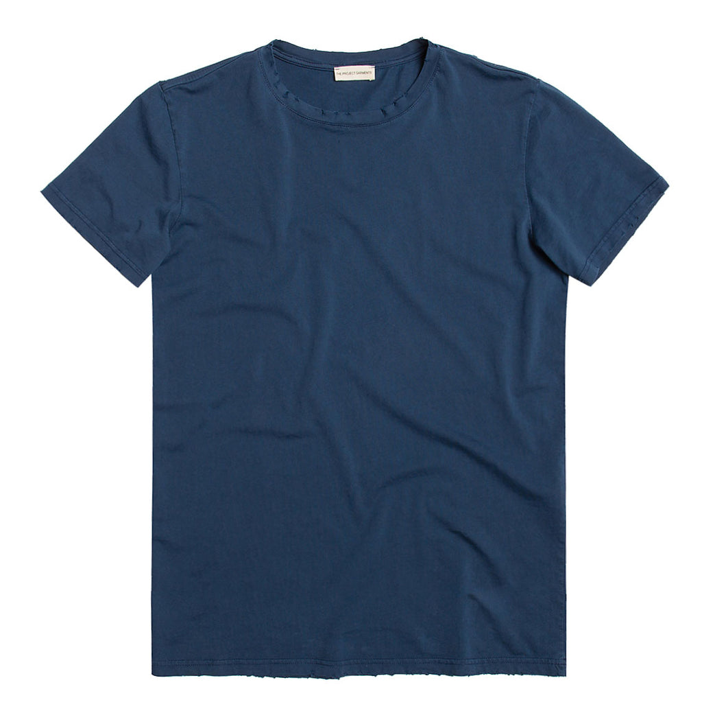 Distressed Crewneck Regular Fit Organic Cotton T-shirt Blue