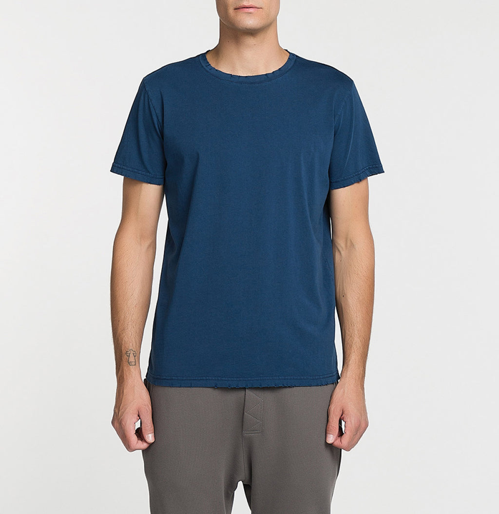 Distressed Crewneck Regular Fit Organic Cotton T-shirt Blue Model A