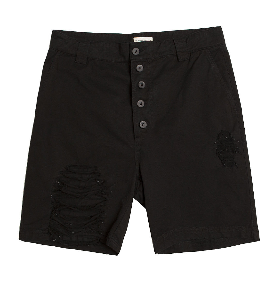 Distressed Straight Leg Washed Cotton Shorts Black | The Project Garments - Product