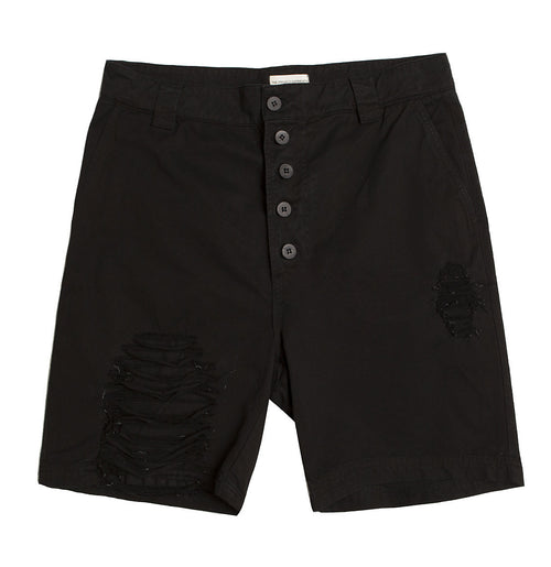 Distressed Straight Leg Washed Cotton Shorts Black