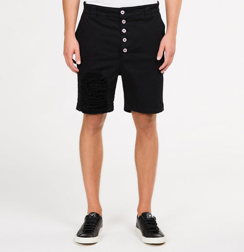Distressed Straight Leg Washed Cotton Shorts Black | The Project Garments - A