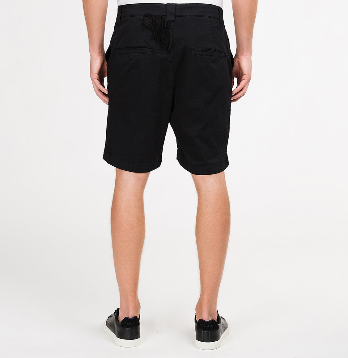 Distressed Straight Leg Washed Cotton Shorts Black | The Project Garments - B