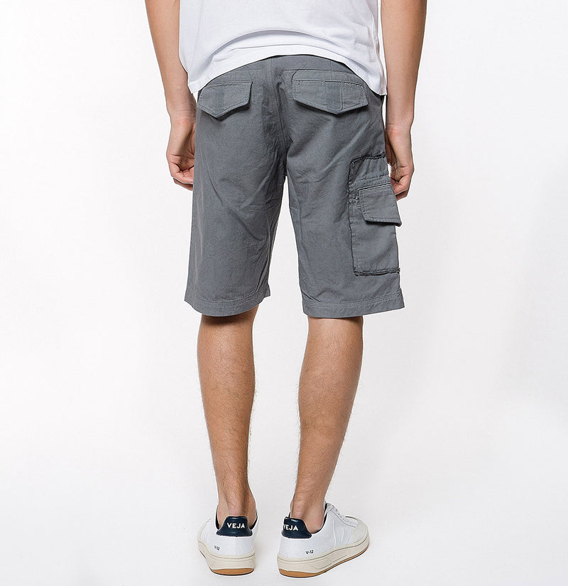 Washed Cotton Cargo Distressed Shorts Asphalt Grey - C | The Project Garments