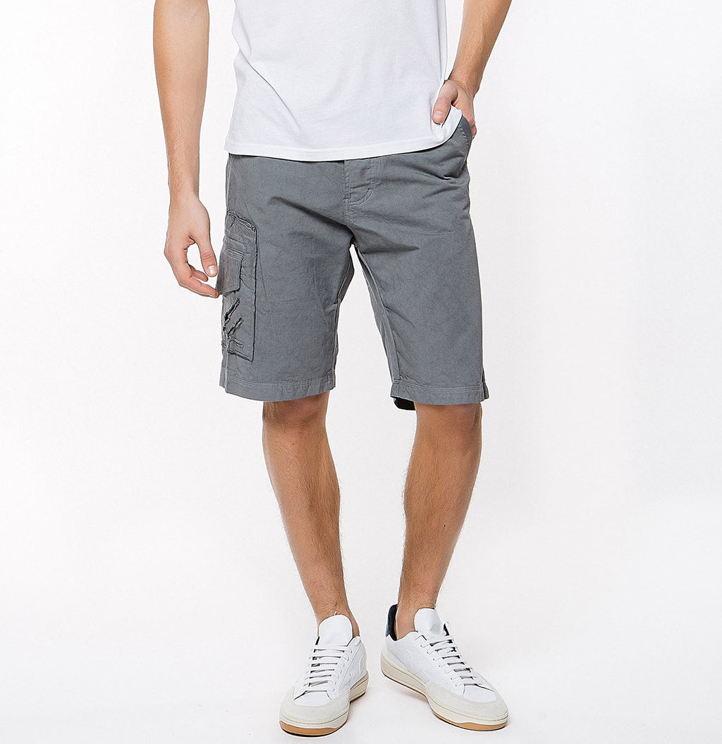 Washed Cotton Cargo Distressed Shorts Asphalt Grey - A | The Project Garments