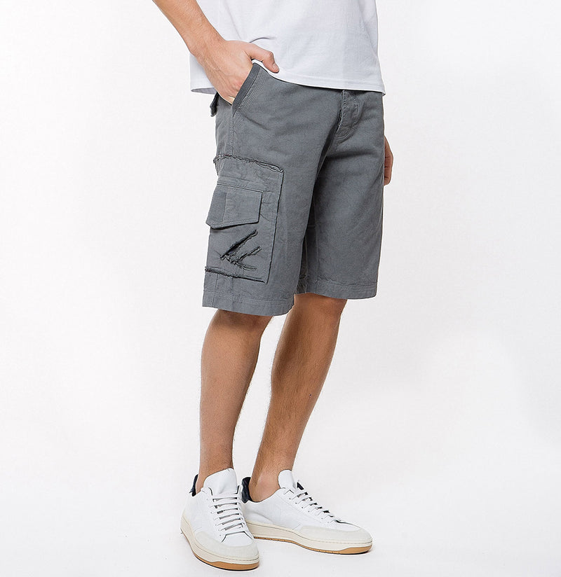 Washed Cotton Cargo Distressed Shorts Asphalt Grey - B | The Project Garments