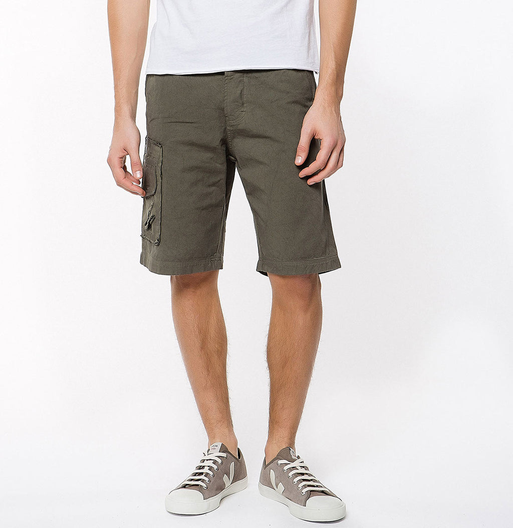 Washed Cotton Cargo Distressed Shorts Khaki - A | The Project Garments
