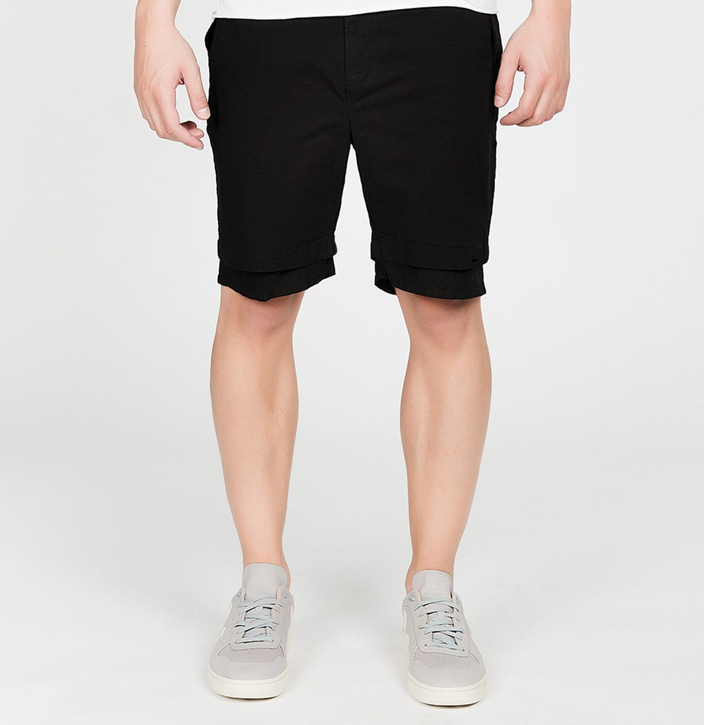 Double Layer Cotton Shorts Black | The Project Garments - A