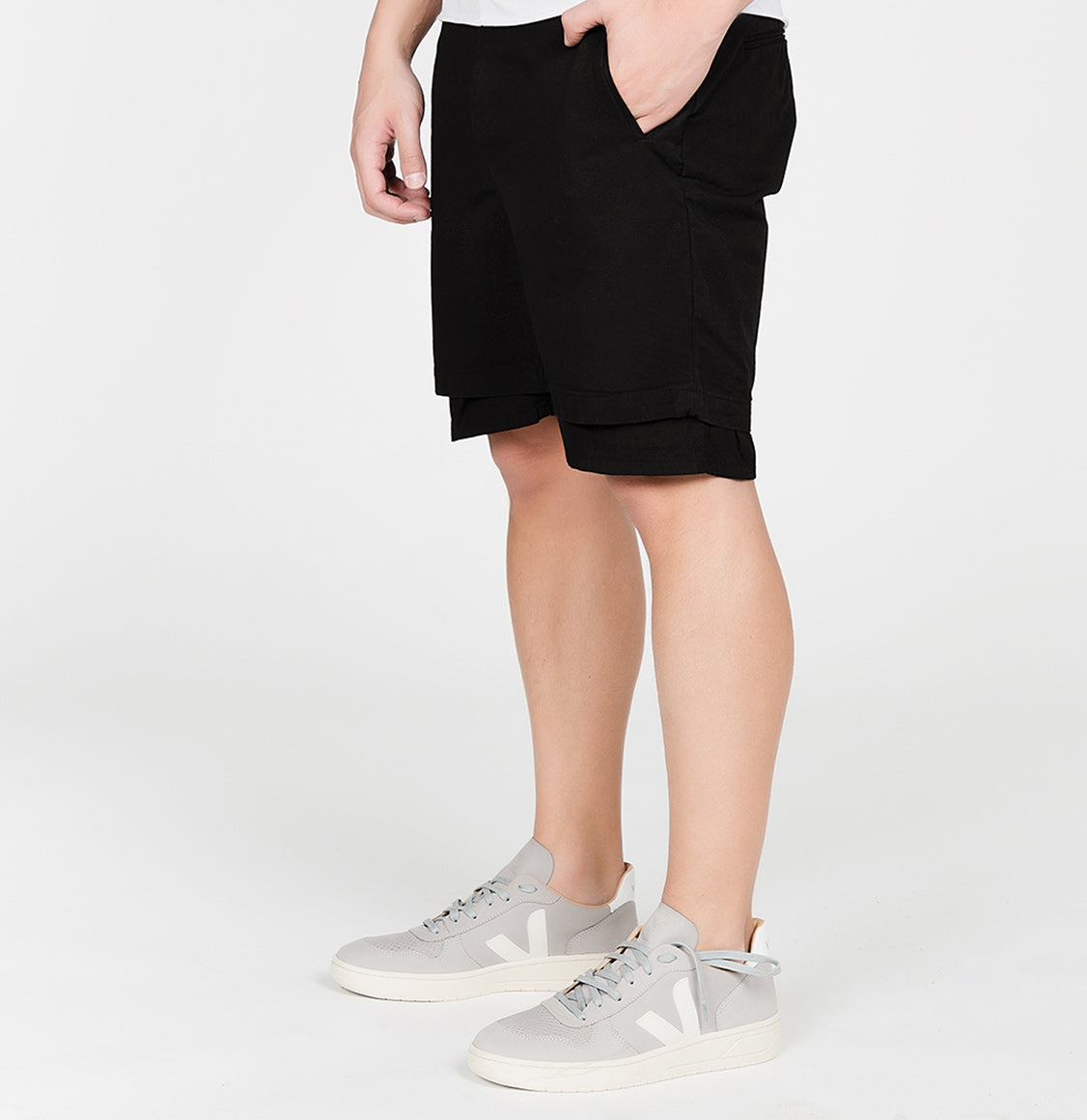 Double Layer Cotton Shorts Black | The Project Garments - B
