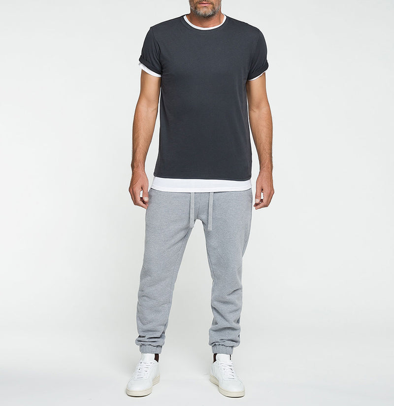 Double Crew Neck Wool T-Shirt Charcoal Grey | The Project Garments - Model