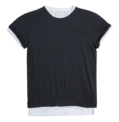 Double Crew Neck Wool T-Shirt Charcoal Grey | The Project Garments - Product