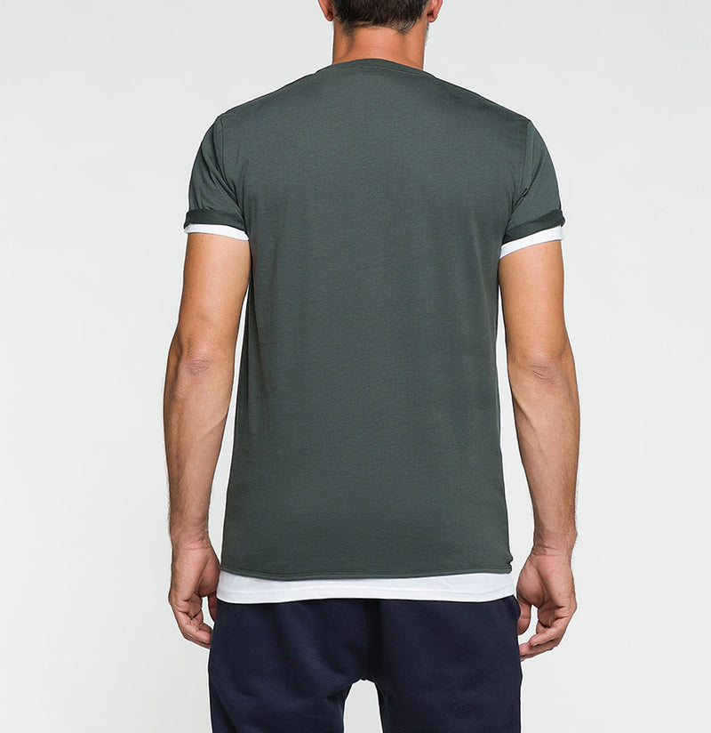 Double Crew Neck Wool T-Shirt Khaki | The Project Garments - Back