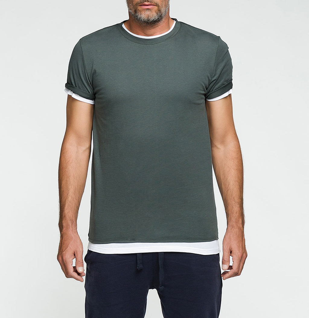 Double Crew Neck Wool T-Shirt Khaki | The Project Garments - Front