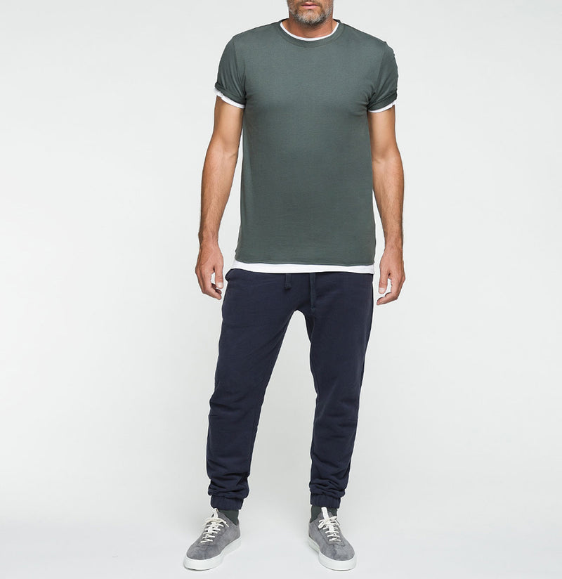 Double Crew Neck Wool T-Shirt Khaki | The Project Garments - Model