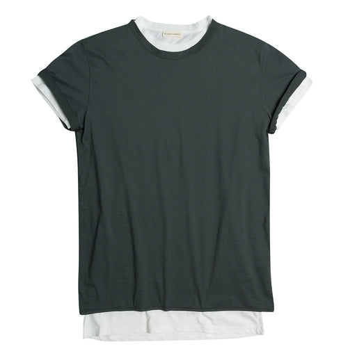 Double Crew Neck Wool T-Shirt Khaki | The Project Garments - Product