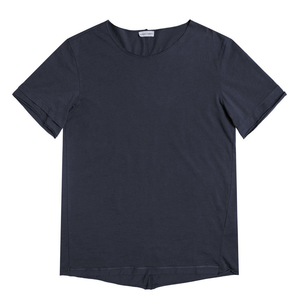 Organic Cotton Crew Neck Garment Dyed T-shirt Slate Blue | The Project Garments - Product