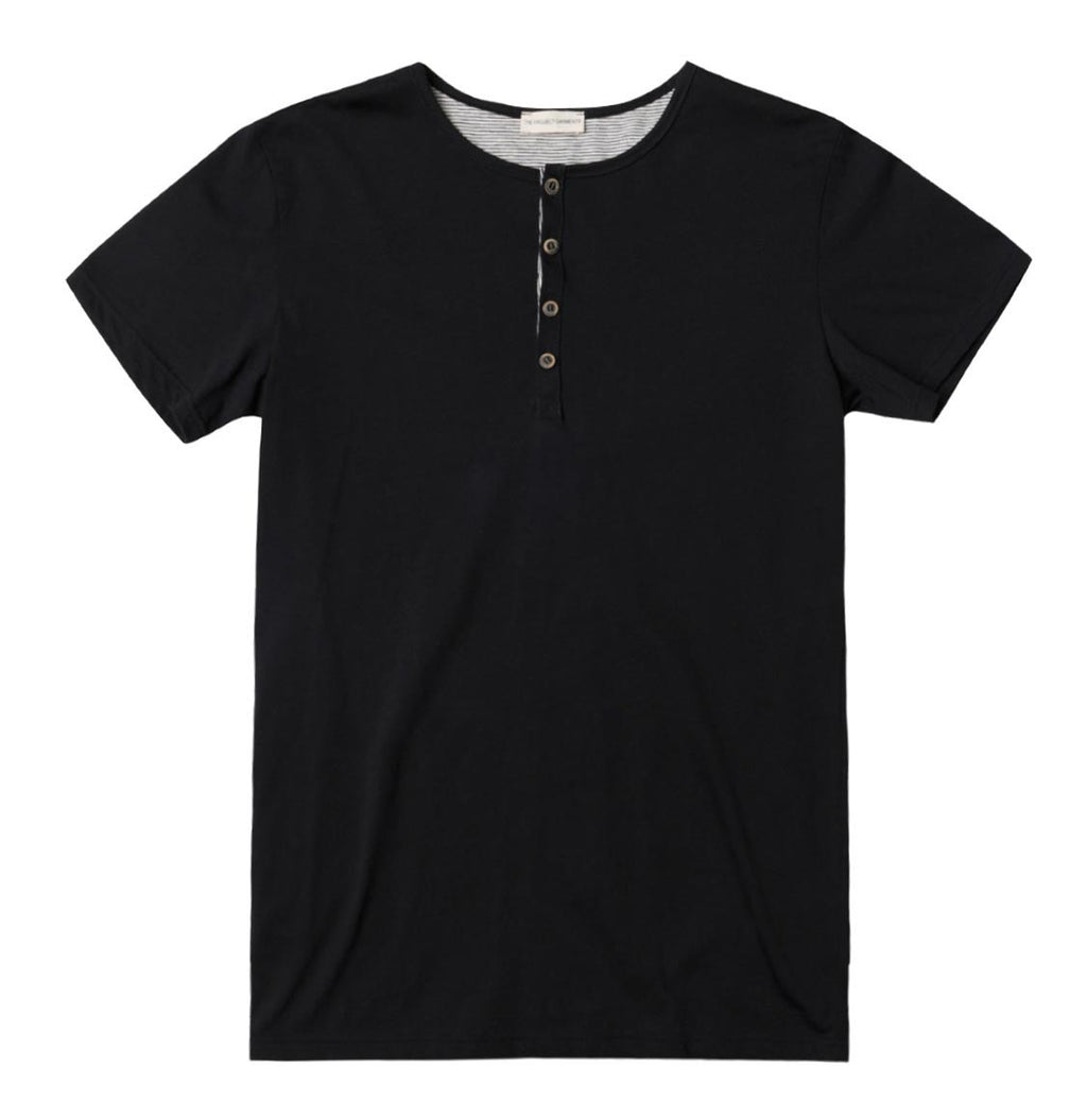 Grandad Collar Organic Cotton T-shirt Black - A