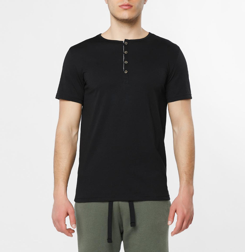Grandad Collar Organic Cotton T-shirt Black - B