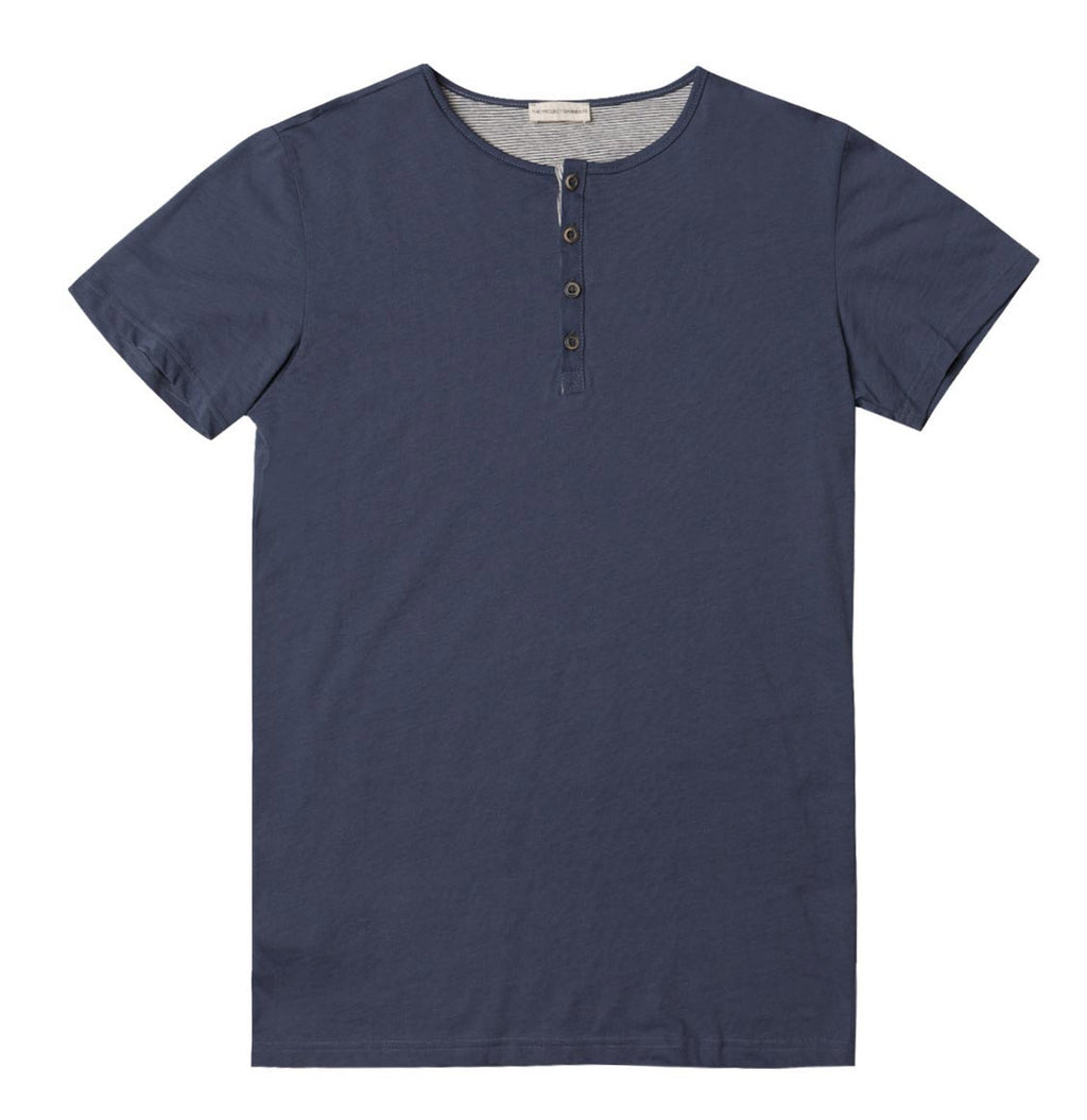 Grandad Collar Organic Cotton T-shirt Slate Blue - A