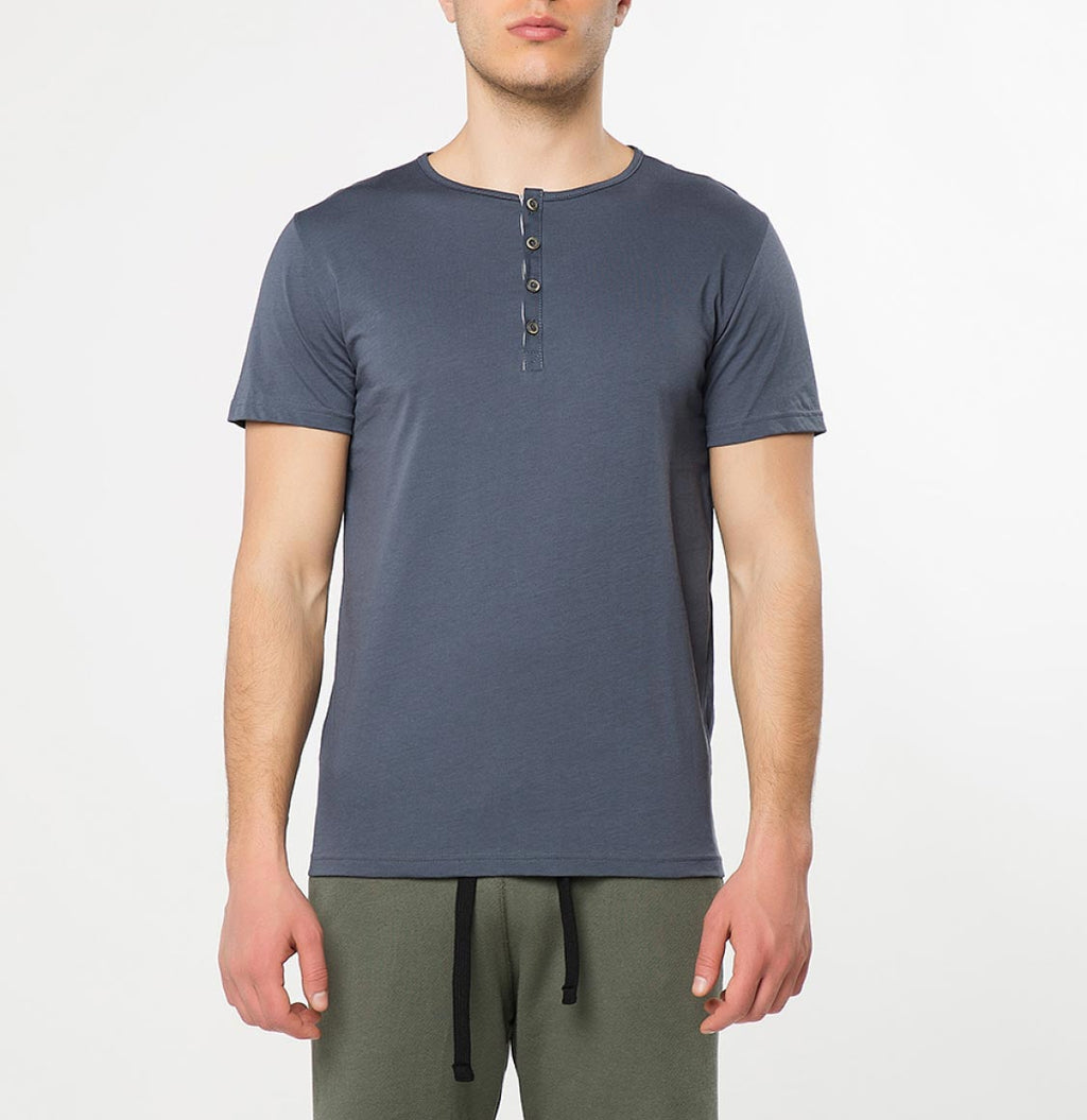 Grandad Collar Organic Cotton T-shirt Slate Blue - B