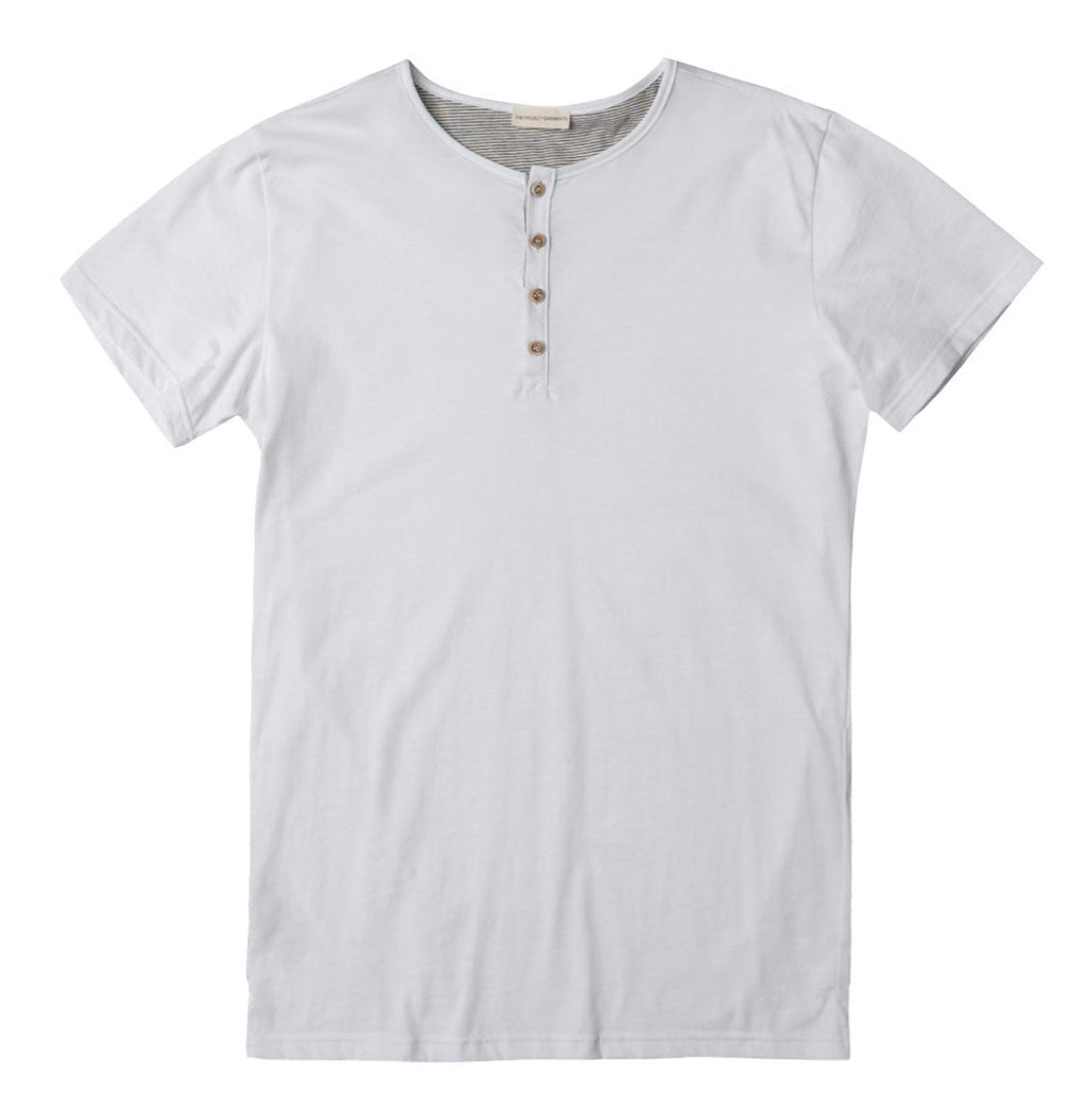 Grandad Collar Organic Cotton T-shirt White - A