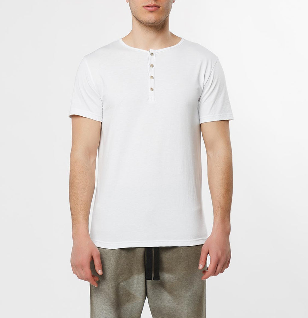 Grandad Collar Organic Cotton T-shirt White - B