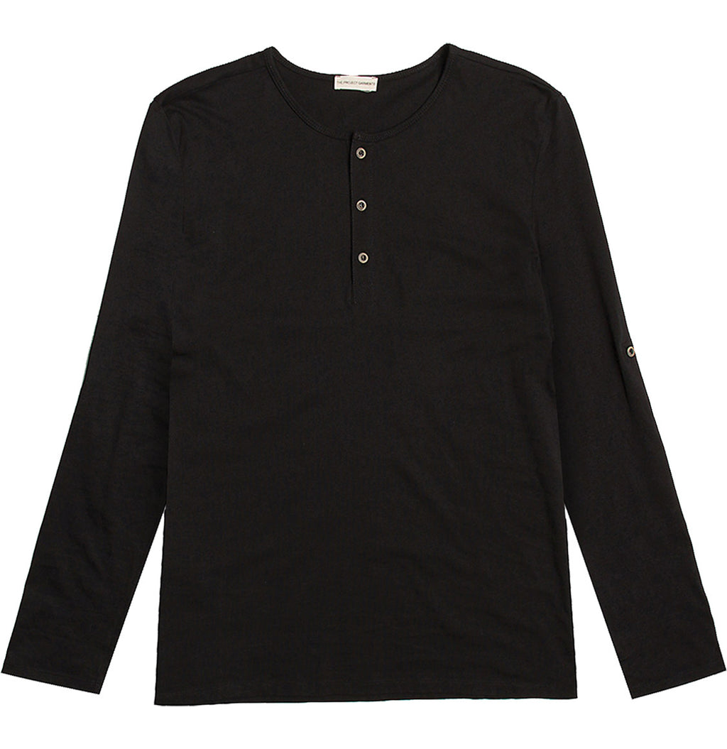 Henley Organic Cotton Long Sleeve T-shirt Black