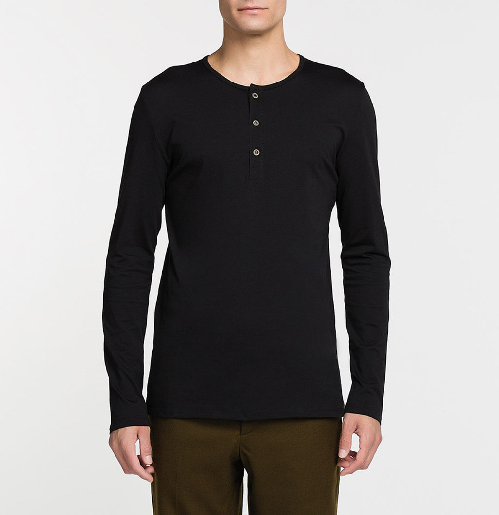 Henley Organic Cotton Long Sleeve T-shirt Black Front