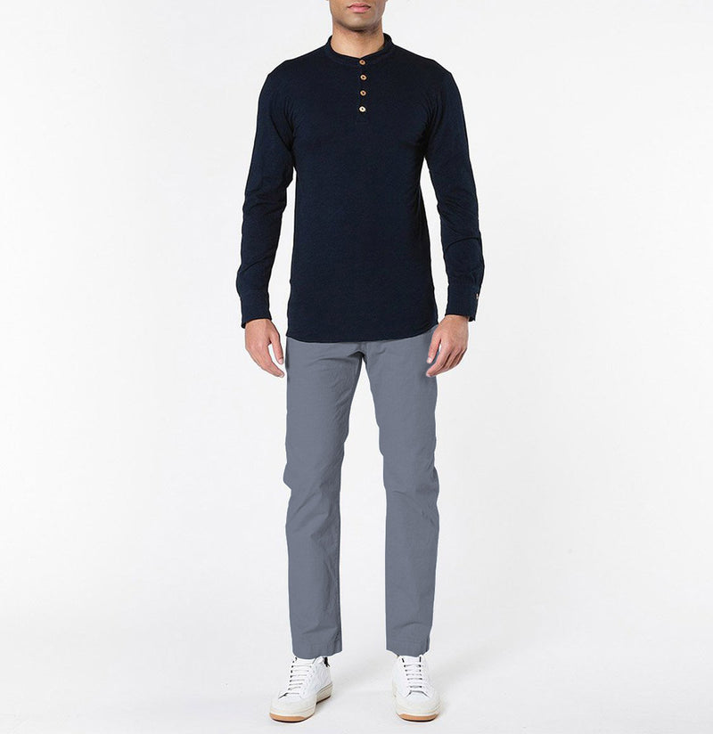Henley Organic Cotton Slub Long Sleeve T-shirt Navy Blue | The Project Garments - Model
