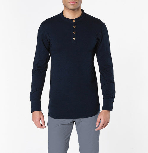 Henley Organic Cotton Slub Long Sleeve T-shirt Navy Blue | The Project Garments - A