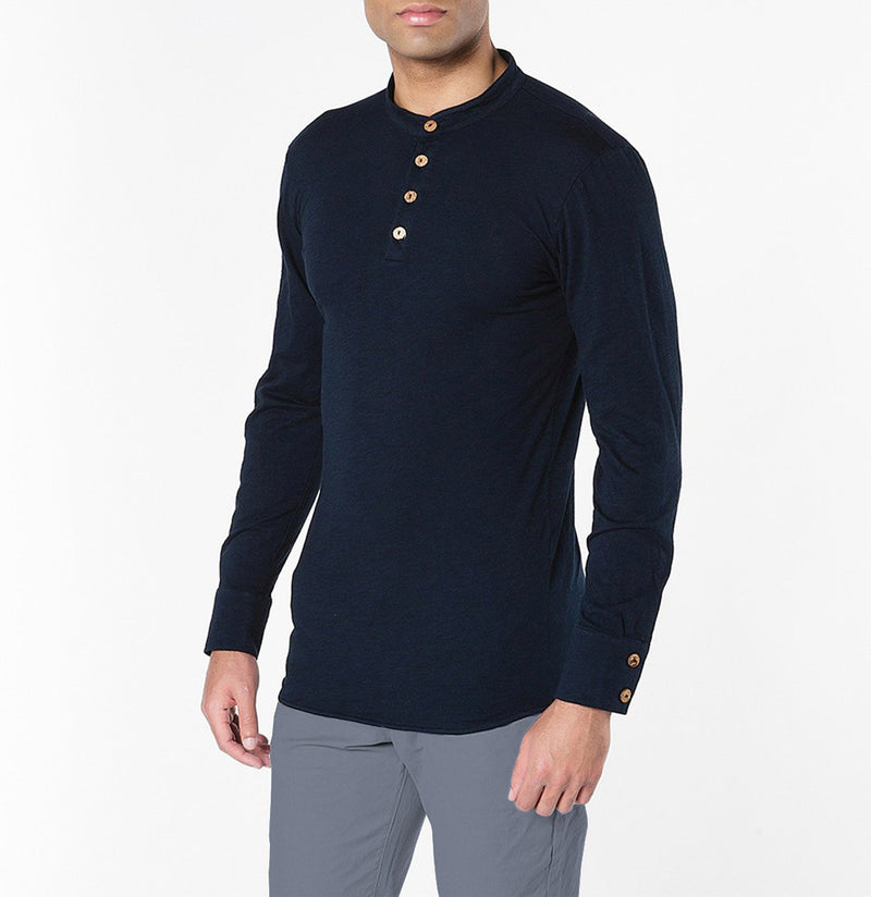 Henley Organic Cotton Slub Long Sleeve T-shirt Navy Blue | The Project Garments - B