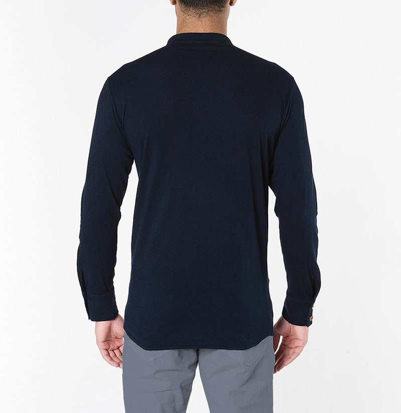 Henley Organic Cotton Slub Long Sleeve T-shirt Navy Blue | The Project Garments - C