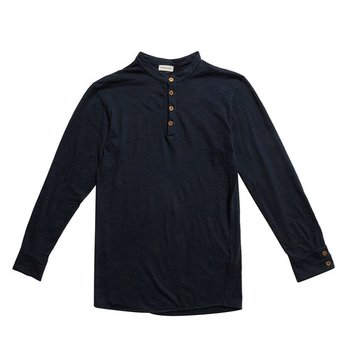 Henley Organic Cotton Slub Long Sleeve T-shirt Navy Blue | The Project Garments - Product