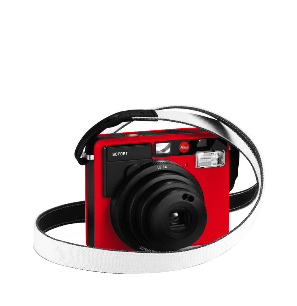 Leica Sofort Camera Strap White on Leica Sofort Red