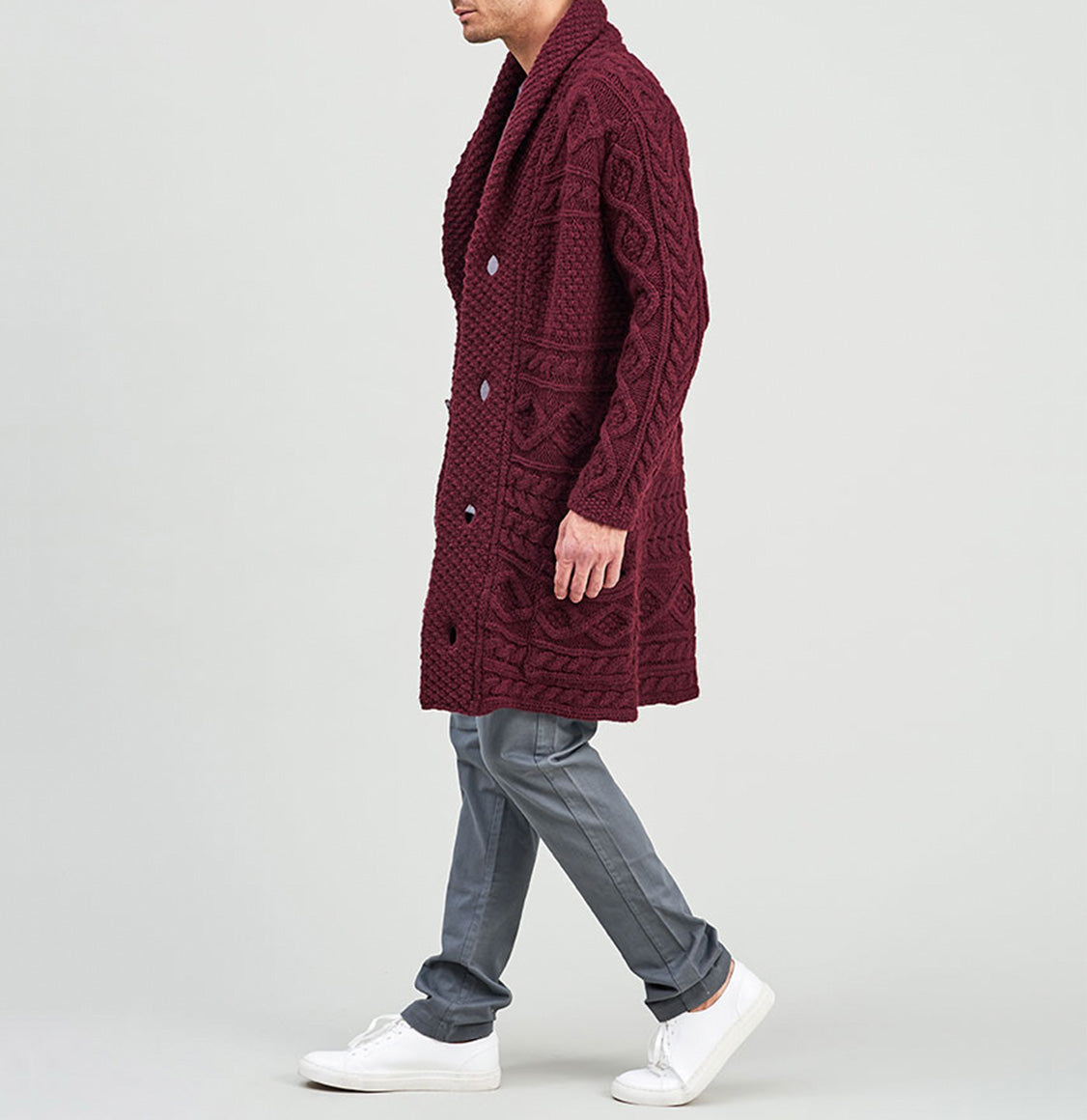 Longline Shawl Cable Wool Knitwear Burgundy | The Project Garments - C
