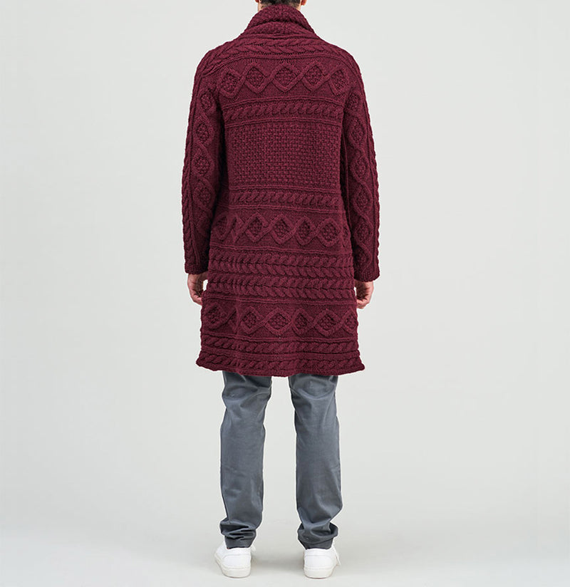 Longline Shawl Cable Wool Knitwear Burgundy | The Project Garments - D