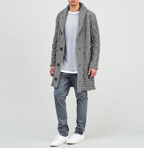 Longline Shawl Cable Wool Knitwear Grey | The Project Garments - B