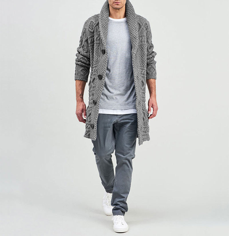 Longline Shawl Cable Wool Knitwear Grey | The Project Garments - C