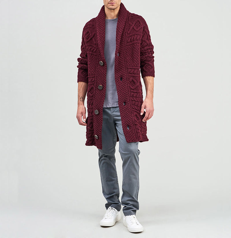 Longline Shawl Cable Wool Knitwear Burgundy | The Project Garments - B