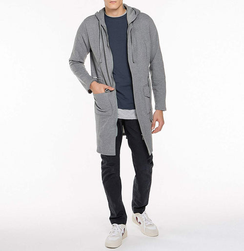 Longline Hooded Cardigan Melange Grey | The Project Garments - Model