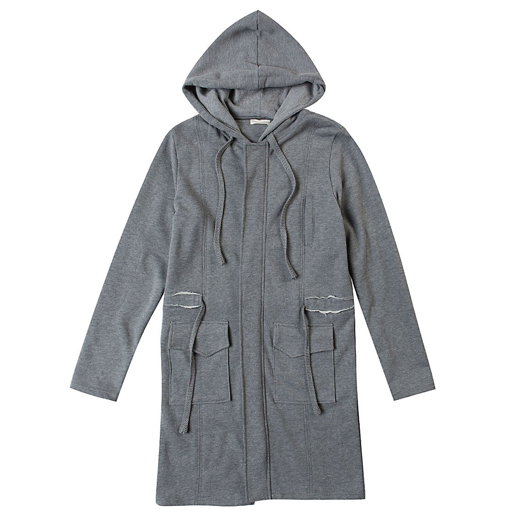 Longline Hooded Cardigan Melange Grey | The Project Garments - Product