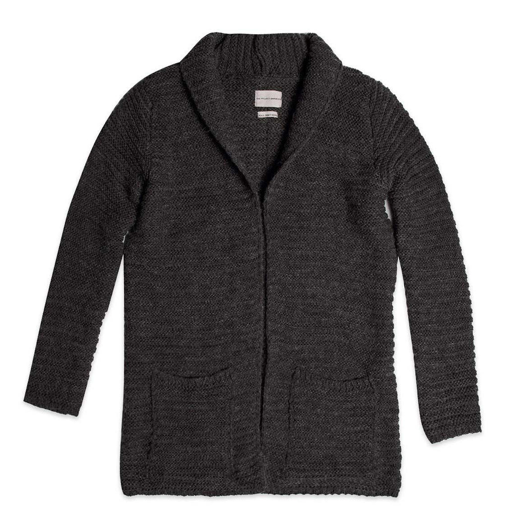 Longline Knitted Shawl Collar Wool Blend Mélange Cardigan Charcoal Grey Product